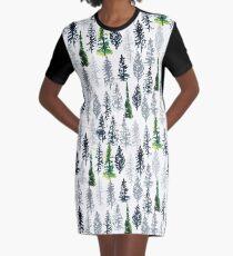 Fir Trees Pattern Graphic T-Shirt Dress