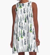 Fir Trees Pattern A-Line Dress