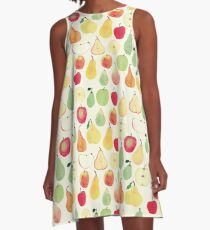Watercolour Apples and Pears Pattern A-Line Dress