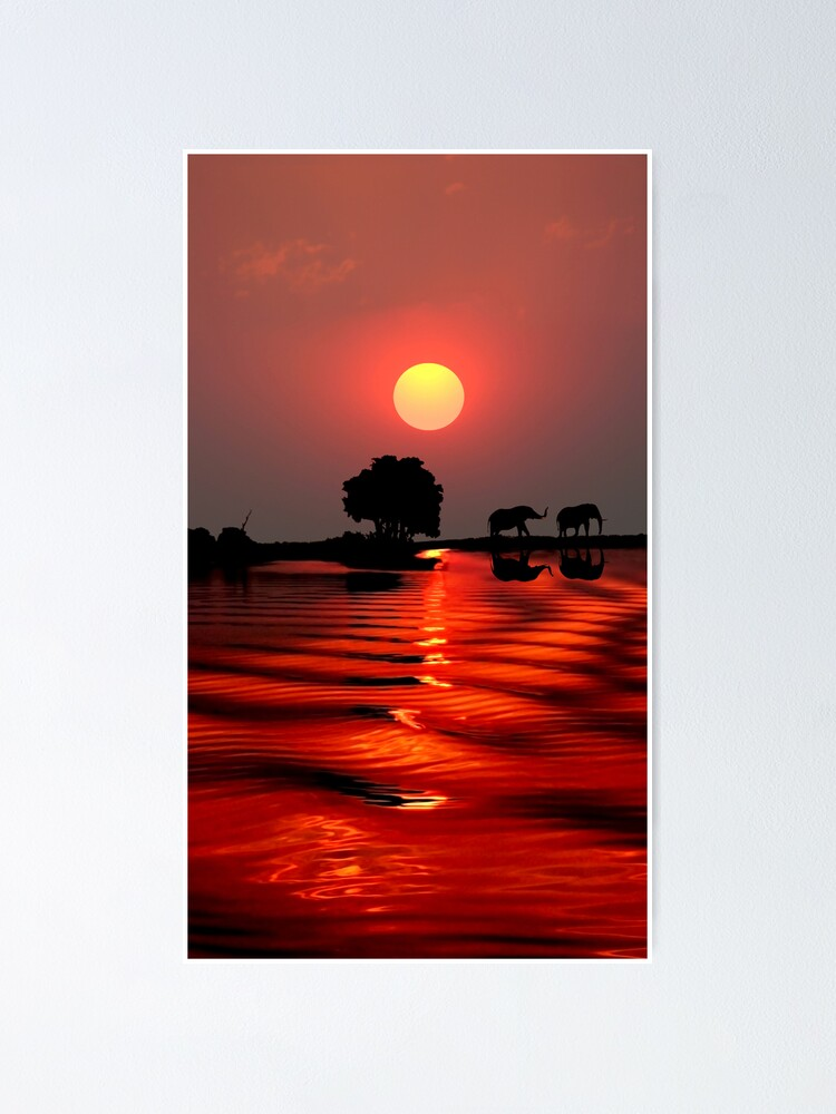 Alternate view of SUNSET WITH ELEPHANTS - BOTSWANA Poster