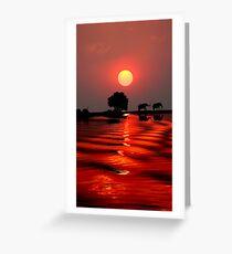 SUNSET WITH ELEPHANTS - BOTSWANA Greeting Card