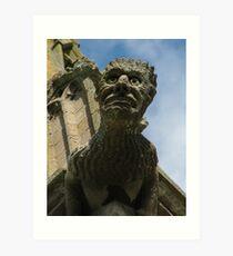 Gargoyle on Easton Maudit church spire Art Print