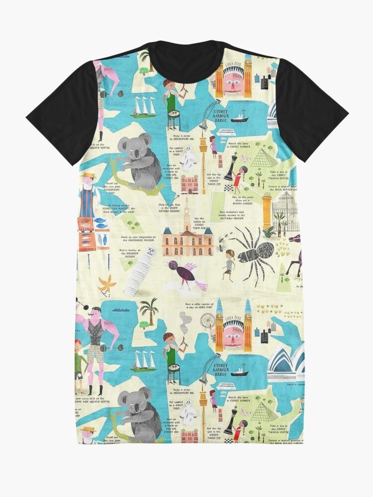 Alternate view of  Australia, Ethnic, Cultural, Countries,  Cartoon Animal Icons Graphic T-Shirt Dress