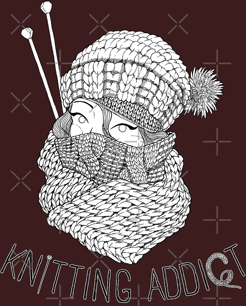 Knitting Addict - Black and White by neffinesse