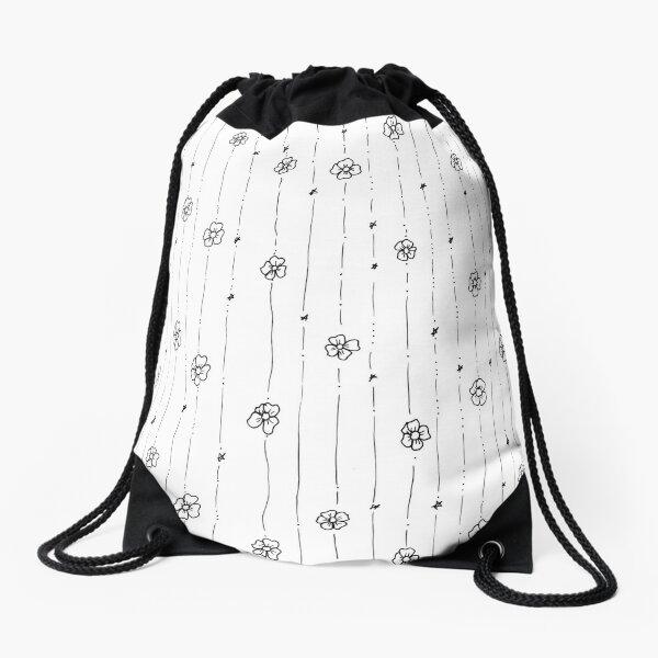 Delicate Flowers Doodle Pattern Drawstring Bag