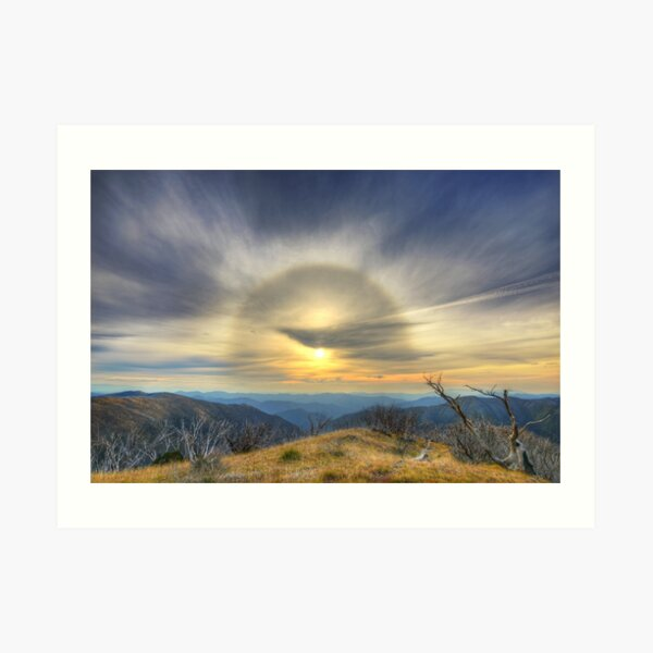 Sun halo over the high country Art Print