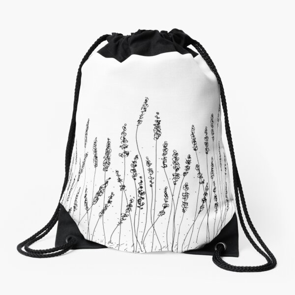 Black Lavender Flowers Drawstring Bag