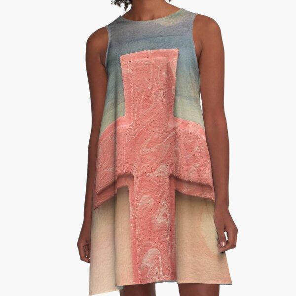 Pink Watercolor Cross A-Line Dress