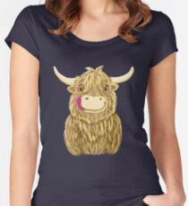 Cartoon Scottish Highland Cow Fitted Scoop T-Shirt