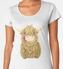 Cartoon Scottish Highland Cow Women's Premium T-Shirt