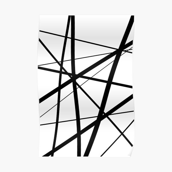 Black and White Geometric Lines Poster