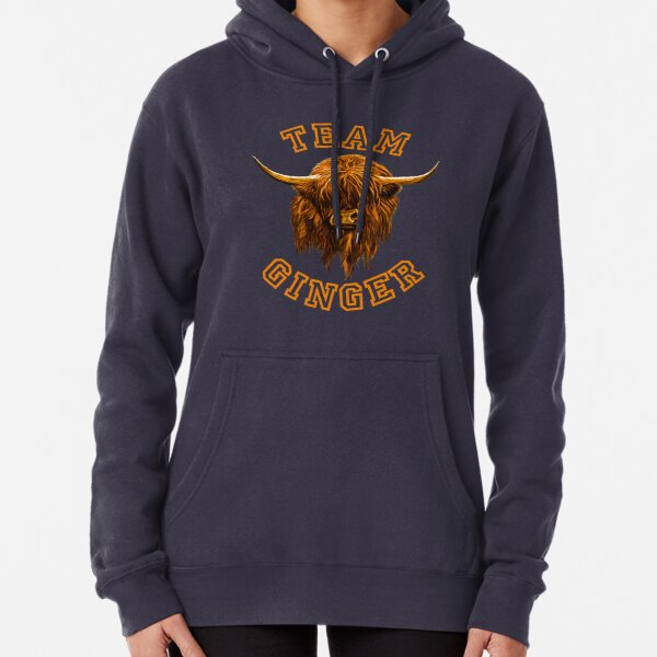 Team Ginger Scottish Highland Cow Pullover Hoodie