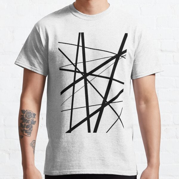 Black and White Geometric Lines Classic T-Shirt