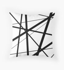 Black and White Geometric Lines Throw Pillow