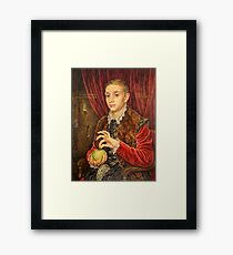 Boy With The Apple Painting  Framed Print