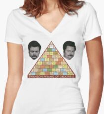 Swanson Pyramide der Größe Shirt mit V-Ausschnitt