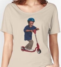 """This is Steve Harvey as a Five Year Old Riding a Scooter"" Women's Relaxed Fit T-Shirt"