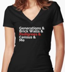 The Roots: Generations & Brick Walls & Pedigrees & Me Women's Fitted V-Neck T-Shirt