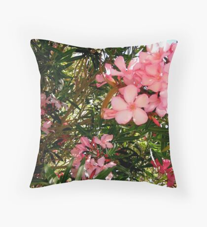 Pink and red oleanders Throw Pillow