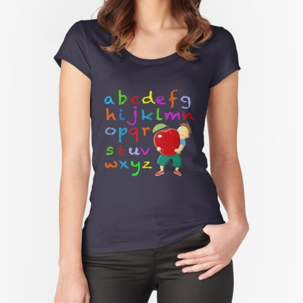 Chalkboard Alphabet Fitted Scoop T-Shirt