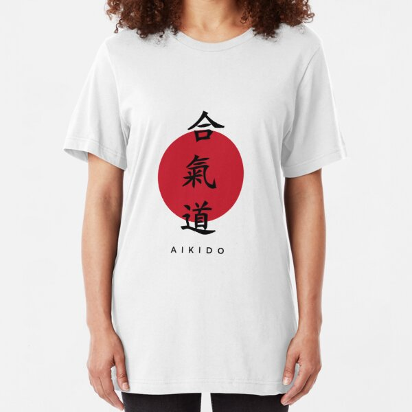 Aikido Kanji Design with Black Text Slim Fit T-Shirt