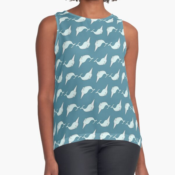 Narwhals in Blue Sleeveless Top