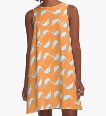 Narwhals in Bright Orange A-Line Dress