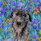 Rufus in a bed of flowers by printsisters
