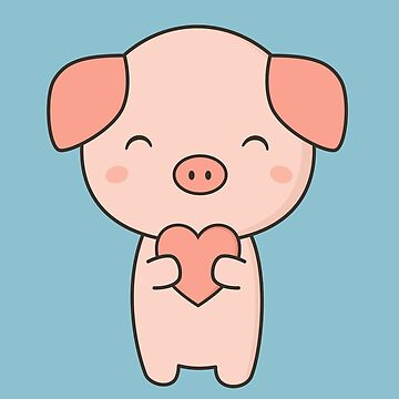 Pig With Kawaii Cute Heart  by happinessinatee