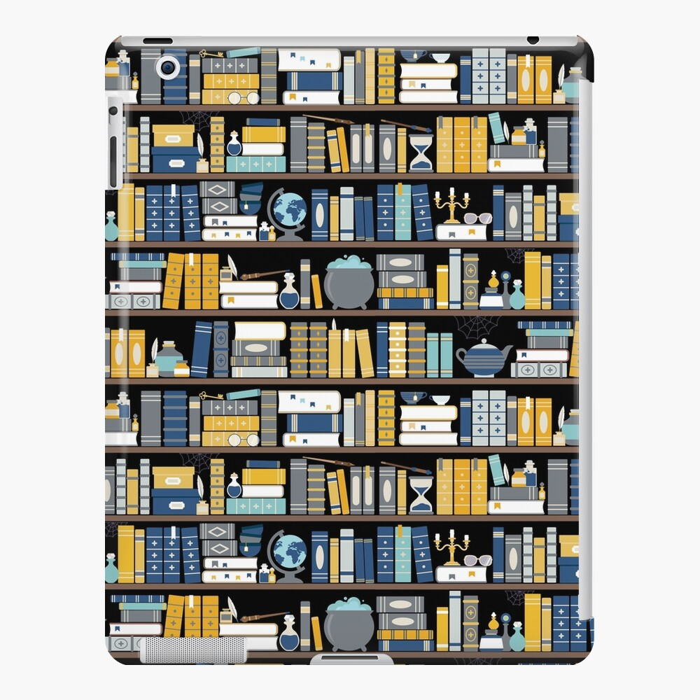 Bookcase Pattern - Blue Yellow Library iPad Case & Skin