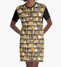 Bookshelf Pattern - Yellow and Grey Graphic T-Shirt Dress