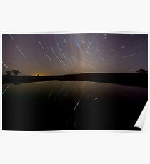 Dam Star Trail Reflections Poster