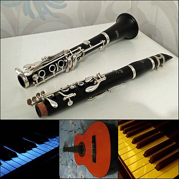 Clarinet, Keyboards and Guitar Collage by kathrynsgallery