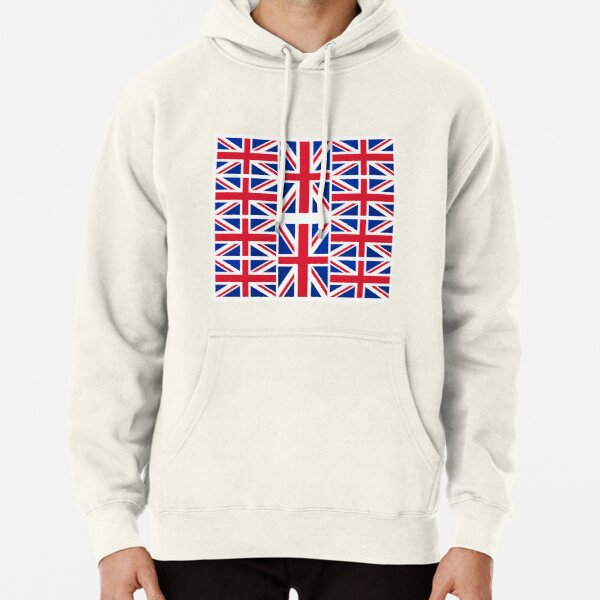 Blue UK Flag Bunting Mens Front Pouch Pocket Pullover Hoodie Sweatshirt Long Sleeves Pullover Tops