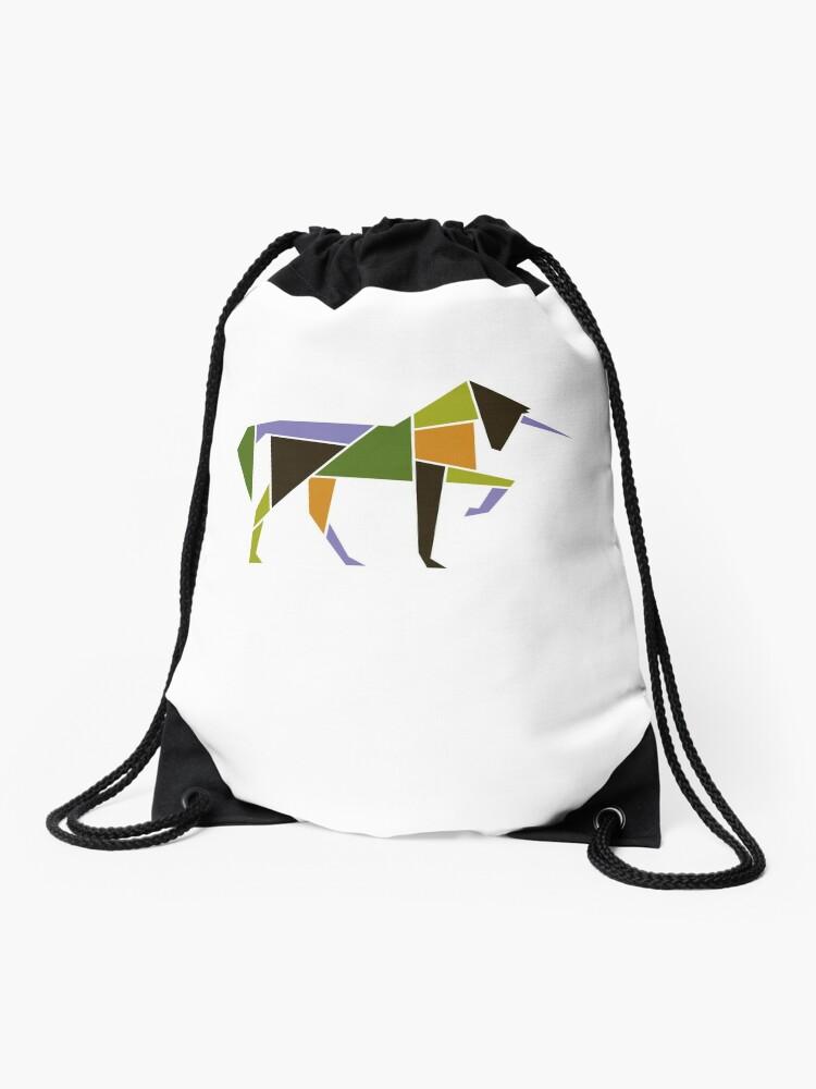 df756dcdfa0e3 Mid Century Modern Abstract Unicorn Tangram Geometric Animal Drawstring Bag