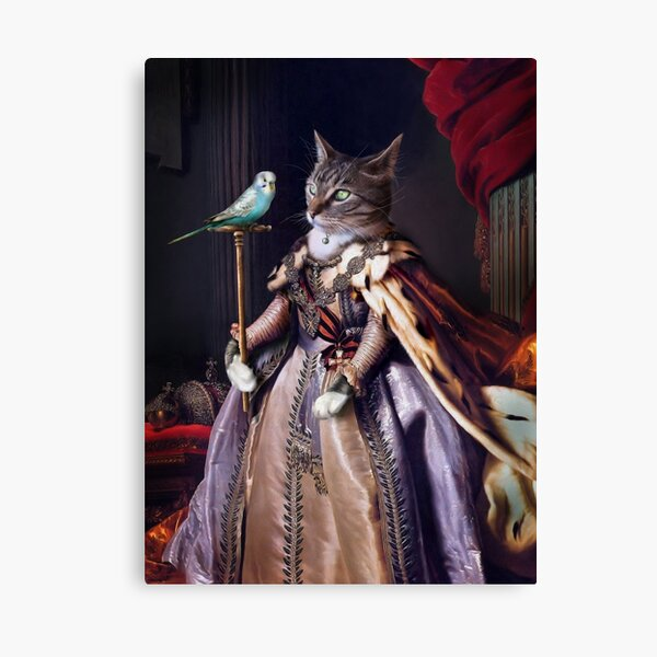 Cat and Budgie Portrait -  Big Cat and Cyril Canvas Print