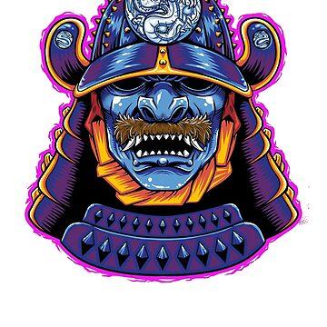 Blue Dragon Samurai (Sticker) by andresMvalle