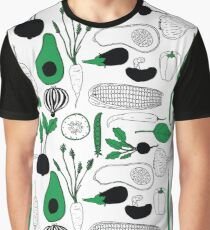 Vegetable Pattern Graphic T-Shirt