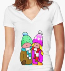 WOOLEY HAT PEOPLE Cute couple Women's Fitted V-Neck T-Shirt