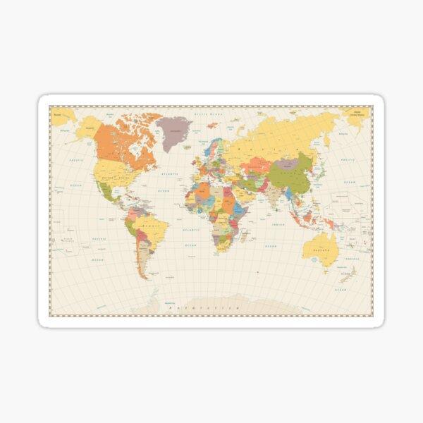 detailed retro political world map Sticker