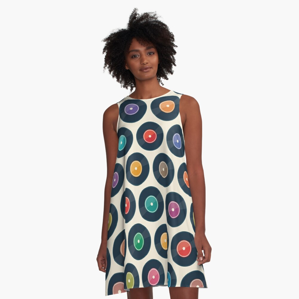Vinyl Record Collection A-Line Dress