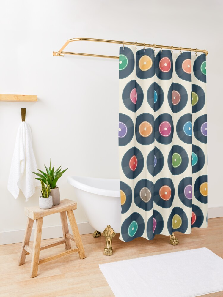 Alternate view of Vinyl Record Collection Shower Curtain