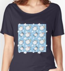 Seamless pattern with sheep flying in the blue sky Women's Relaxed Fit T-Shirt