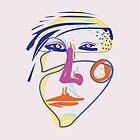 Starke Frau - modernes abstraktes Bürsten-Porträt von bicone
