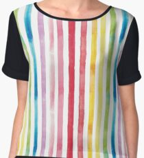 Watercolour Rainbow Stripes Chiffon Top