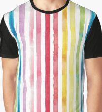 Watercolour Rainbow Stripes Graphic T-Shirt