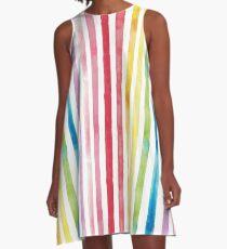 Watercolour Rainbow Stripes A-Line Dress