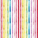 Watercolour Rainbow Stripes by Cathryn Worrell