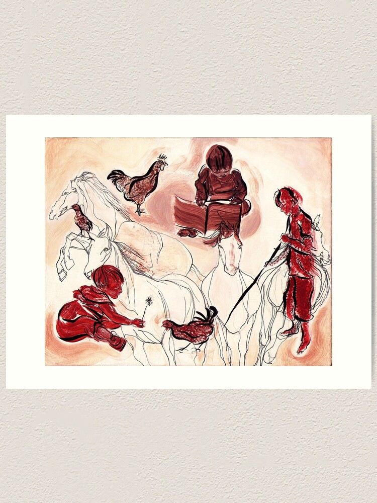 Alternate view of Children Playing Horses Chicken Composition Painting Art Print