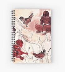 Children Playing Horses Chicken Composition Painting Spiral Notebook